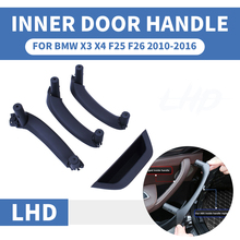 LHD RHD 4PCS Black Car Front Rear Left / Right Interior Door Handle Inner Panel Pull Trim Cover For BMW X3 X4 F25 F26 2010-2017 vodool 4pcs set auto car interior inner door handle pull carrier covers 4 door front rear pull handle covers for bmw f01 f02