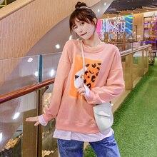 Свободный Повседневный свитер-пуловер размера плюс; осенняя одежда для беременных; опт и розница; 9035