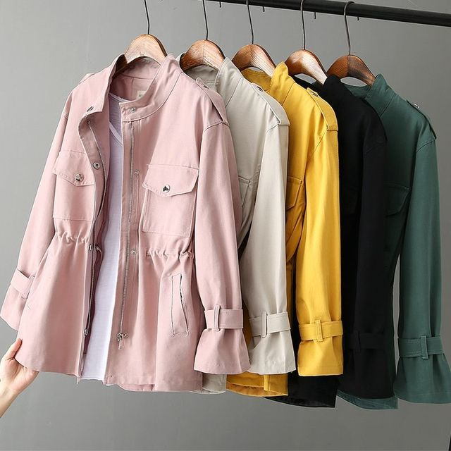 Autumn Peonfly Fashion 2021 Women's Casual Windbreaker Coat Stand Collar Overcoat Outerwear Coat Solid Color Lace Up Loose Coat 4