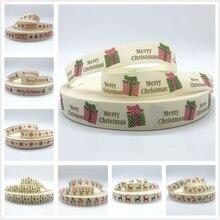 5 ярдов/партия 15 мм 25 мм, Рождественский комплект, хлопковая лента ручной работы с принтовым дизайном и надписью «хлопковые ленты для Рождественского украшения пошив швейной ткани