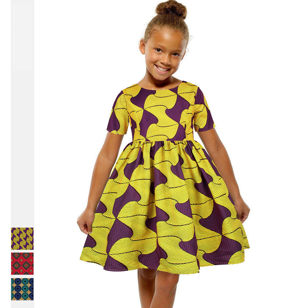 2020NEW Summer African Dashiki Bazin Maxi Dress For Kid Girl Floral Vestidos Kanga Flower Print Short Sleeve Round Neck Clothing