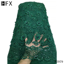 Lace-Fabric Embroidery Beaded Wedding-Dress Sequins Green African Tulle Floral HFX 3D