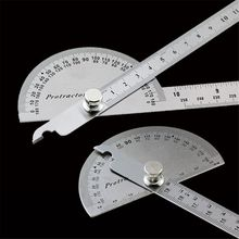Stainless Steel Protractor Round Head Rotary Angle Rule Metal Arm Ruler Adjustable Multifunction Mathematics Measuring Tool