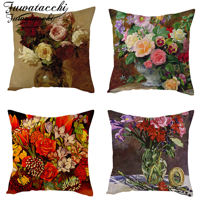 Fuwatacchi Linen Material Floral Cushion Cover Colorful Bouquet Throw Pillow Cover Roses Chrysanthemum Rose Flowers Pillowcases