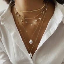 2020 New Fashion Bohemian Multi Layer Imitation Pearl Tassel Choker Necklace Collar Statement Pendant for Women Jewelry
