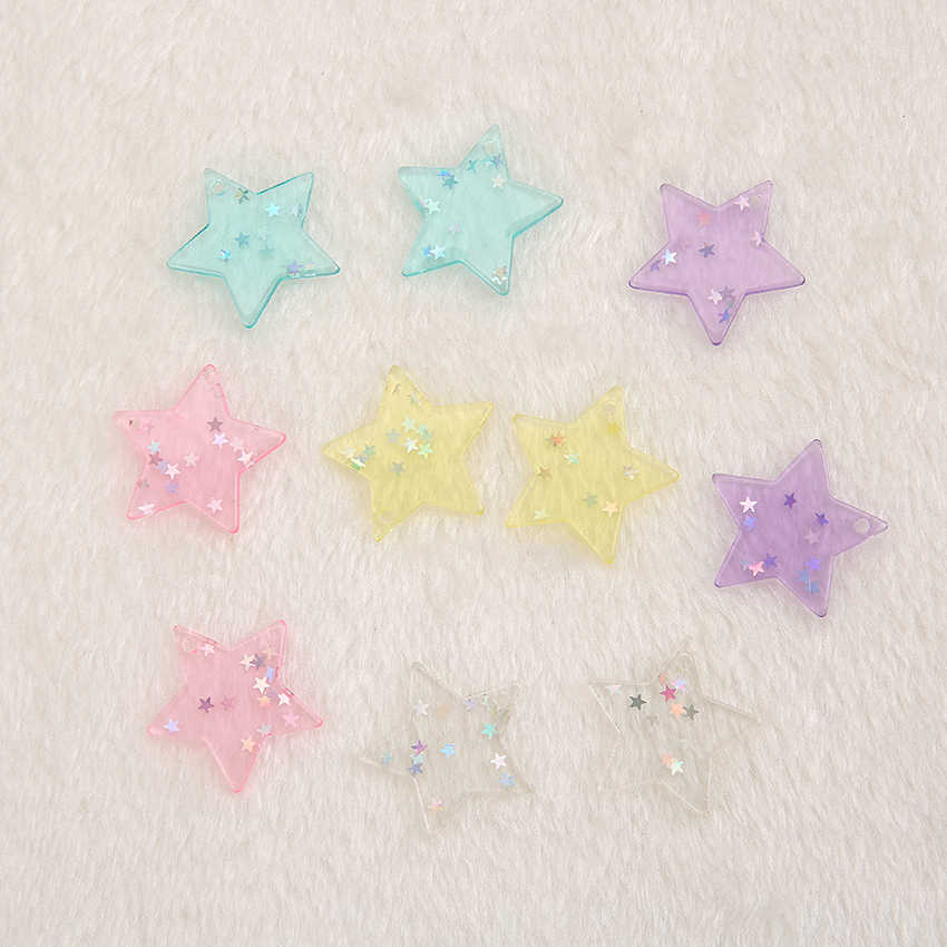 20PCS 30*30mm mixed cute resin flat back  star with hole resin charms fit  Necklace Jewelry Findings