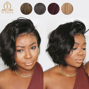 13x6 Lace Front Human Hair Short Bob Wigs Pixie Cut Ombre Color 1B 27 613 Blonde Black Straight For Women Brazilian Remy Hair 1