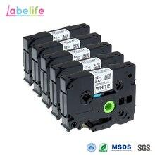 Labelife 5 шт. tze231 12 мм TZ TZe лента TZ231 TZe231 TZe-231, совместимая с Brother P-Touch Белая лента для печати этикеток для PT-H100