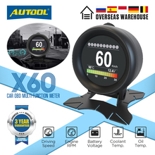 AUTOOL X60 OBD2 HUD OBD Car Digital Meters OBDII Head Up Display with Oil Thermometer Fuel Consumption Voltage Speeds for Auto
