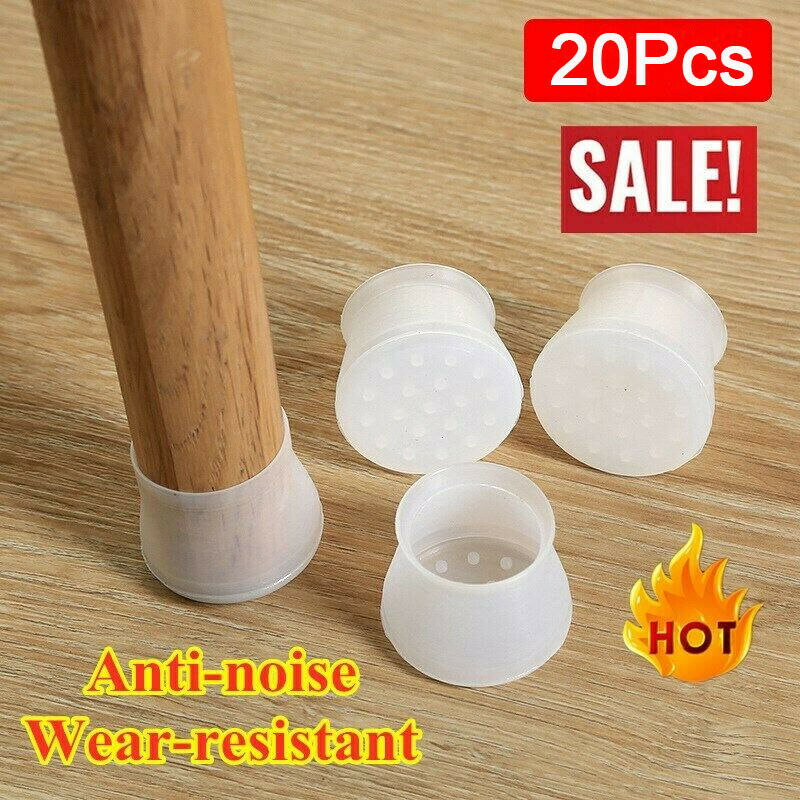 20pcs Silicone Chair Leg Caps Feet Pads Table Cover Anti-slip Floor Protect Mute 28mm- 45mm Round Square Can Be Used Universal