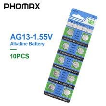PHOMAX batteria a bottone AG13 10 pz/pacco LR44 SR44 SR47 GP76 AG 13 1.55V batteria alcalina per la vigilanza penna laser PDA Fotocamera Digitale