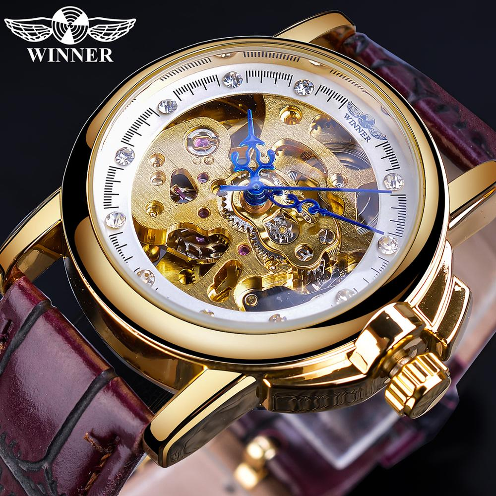 Winner 2019 Mechanial Women Watches Fashion Retro Leather Strap Automatic Ladies Wristwatch High Quality Skeleton Female Clock