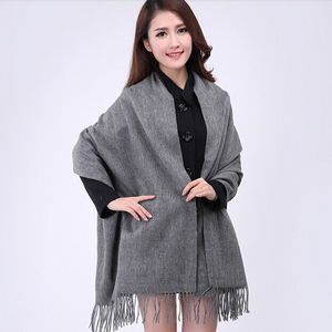Image 3 - White 4Ply 100% Wool Solid Color Womens Autumn Winter New Fashion Thick Tassel Shawl Scarf Wrap Warm 19 Colors 200*70cm 011502