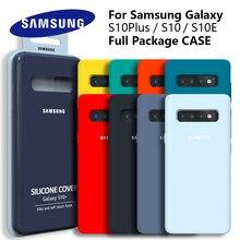Samsung galaxy s10 original, capa de silicone líquido, sedoso, macio, touch, capa para galaxy s10 lite s10e s10 + s10plus s10 e