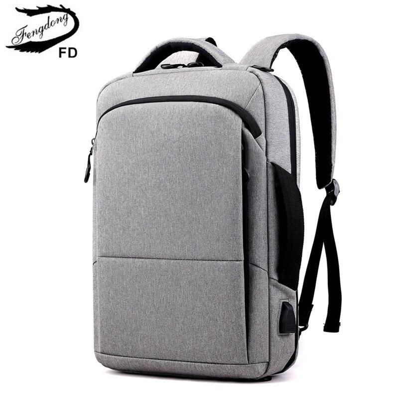 FengDong College Student School Backpack For Boy Male Business Travel Laptop Backpack Usb Big Book Bag Backbag Men School Bag