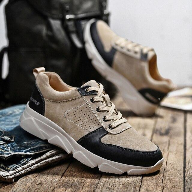 Купить мужские кроссовки из натуральной кожи на осень/зиму картинки цена