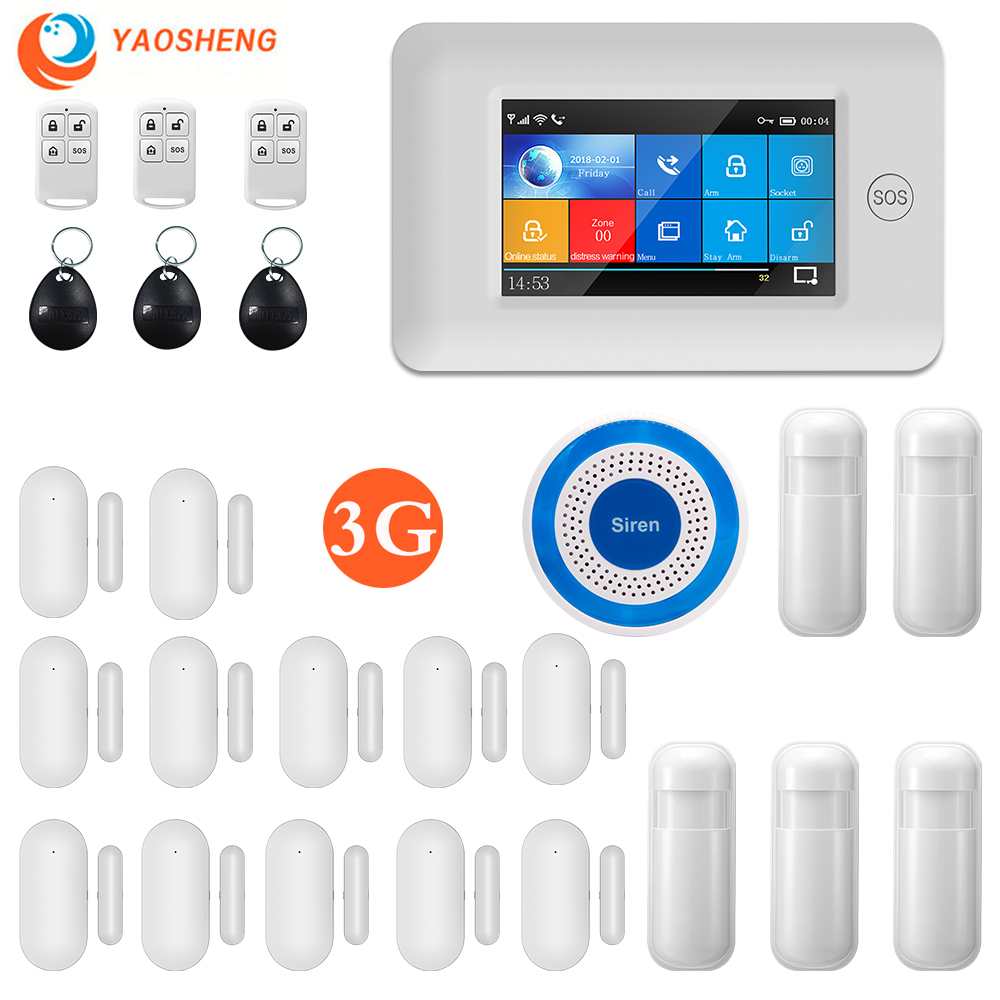 YS 3G WIFI GPRS Multi-Net Alarm Full Touch Screen IOS Adroid Control Smart Home Security Alarm Host