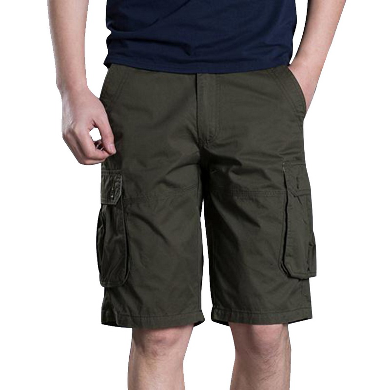 New Summer Brand Mens Casual Solid Color Loose Shorts Male Slim Fit Large Size Multi-pocket Short Pants Overalls