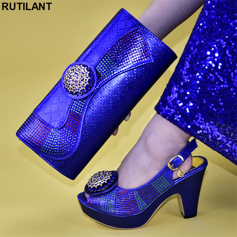 Italian design Shoes and Bag To Match Shoes with Rhinestones