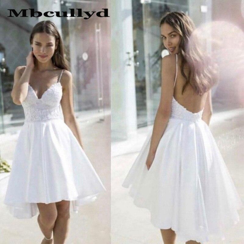 Mbcullyd Hi-Low Short Prom Dresses 2020 Applique Lace Imported Evening Dress Cheap Under 100 Vestidos De Fiesta De Noche