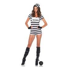 Feminino preto branco listras prisioneiro traje halloween carnaval festa cosplay fantasia macacão