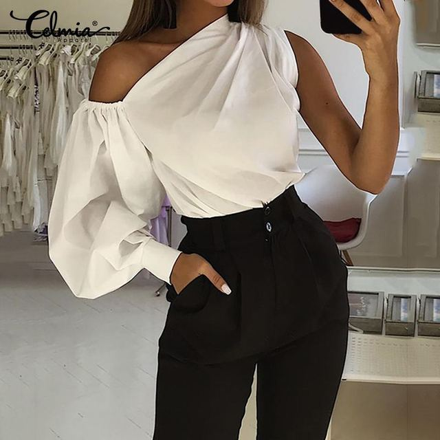 2020 Celmia Women Fashion Long Sleeve Shirts Plus Size Solid Cold Shoulder Blouses Casual Loose Tops Ladies Elegant Work Blusas