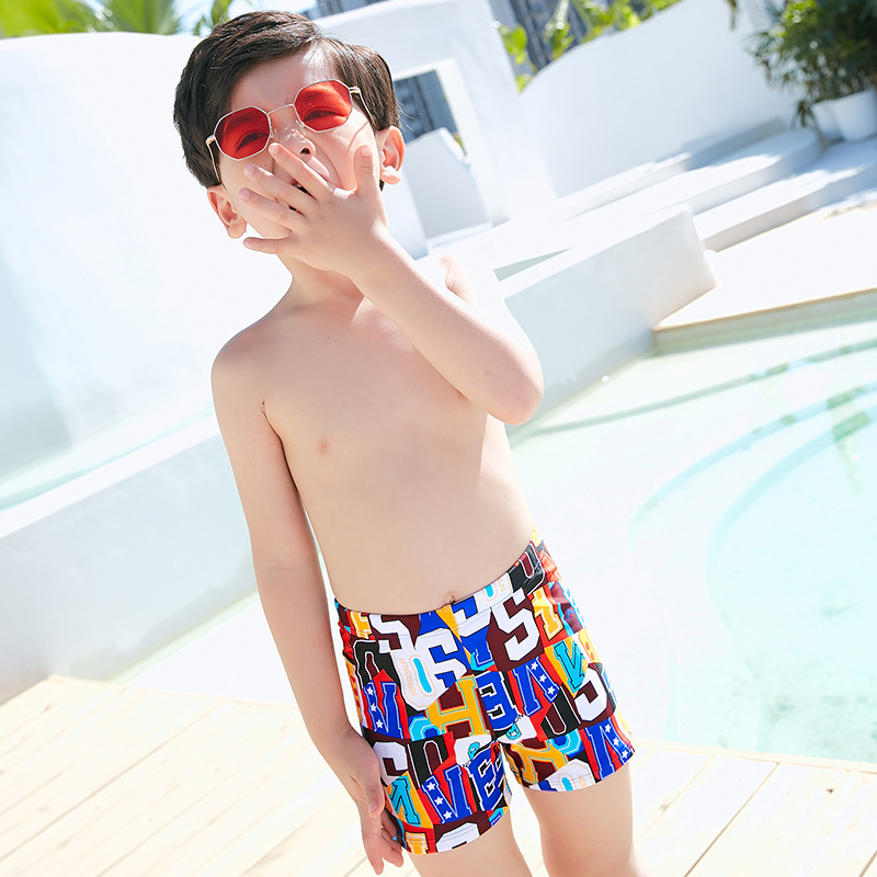 Big Kid Swimming Trunks Korean-style Trendy Letters BOY'S Swimming Belt Swimming Cap CHILDREN'S Swimming Trunks Boxers Head Plus