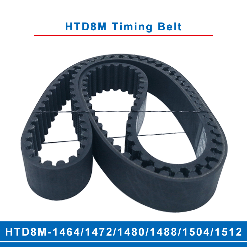 timing belt HTD8M 1464/1472/1480/1488/1504/1512 teeth pitch 8mm circular teeth belt width 20/25/30/40mm for 8M timing pulley Transmission Belts     - title=