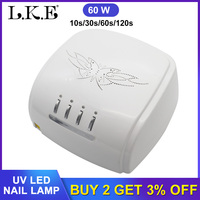 LKE New 60W UV Led Lamp Nail Dryer For All Types Gel 12 Leds UV Lamp for Nail Machine Curing 60s/120s Timer with Fan