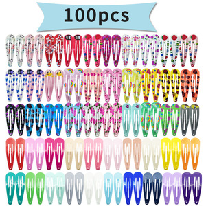 Diversity Mix Color Different Prints Random Hairgrip Hair Clip Snap Hair Clips for Children Girls Hair Accessories Women YB003