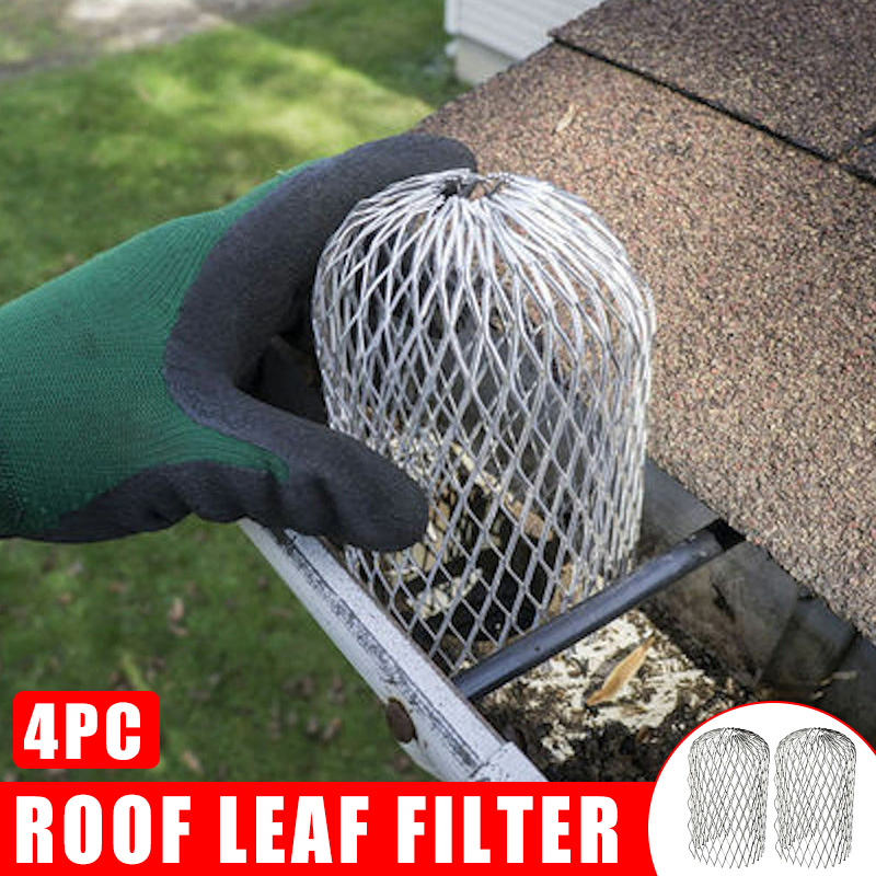 4Pcs Gutter Guard Downspouts Filter Strainer Preventing Leaf Debris Branches Roof Moss From Clogging The Pipes FKU66