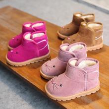 Модные зимние детские ботинки; толстая детская хлопковая обувь; теплые плюшевые короткие ботинки с мягкой подошвой для девочек; лыжные ботинки; ботинки для малышей