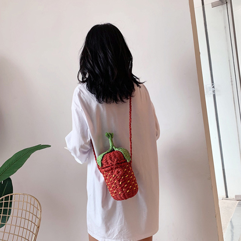 Cute Strawberry Shape Hand-Knitted Shoulder Bag Messenger Bag Fruit Bag Pastoral Boho
