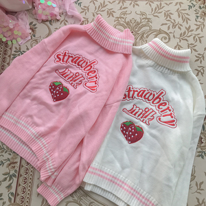 Image 4 - Winter Cute Women Turtleneck Sweater Harajuku Kawaii Strawberry Milk Pink Femme Pull Jumper High Neck White Knitted Sweaters