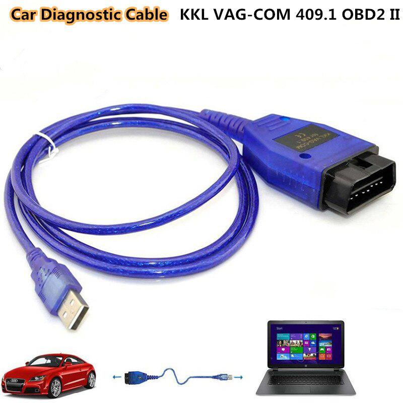 USB VGA-COM Interface Car Diagnostic Cable KKL <font><b>VAG</b></font>-COM 409.1 OBD2 II <font><b>OBD</b></font> Diagnostic Scanner Auto Cable Aux Car Diagnostics Tools image