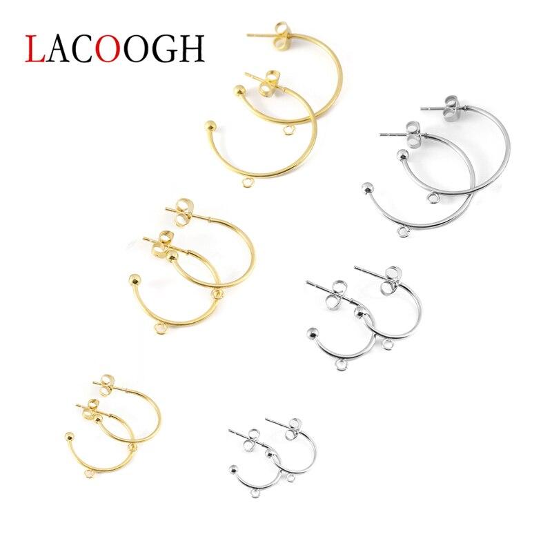 6pcs/lot Stainless Steel C-shaped Round Ear Hook Earrings Pendants Earrings Ear Pin DIY Handmade Earring Jewelry Making Findings