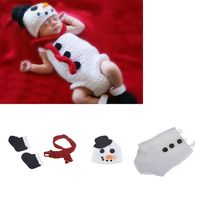 Christmas Snowman Baby Photo Costume Infant Crochet Outfit Newborn Photo Props