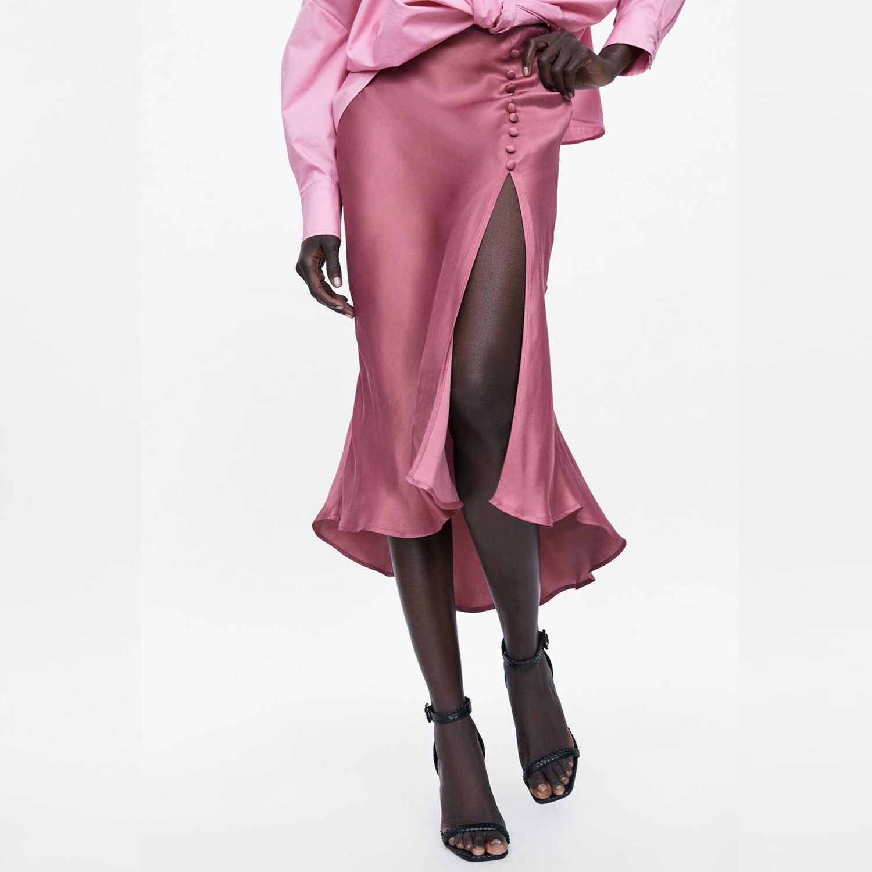 ファッションピンクサテンライトスカート女性非対称リベット高スリットデザインスリムオフィスレディサマーカジュアルドレープミディスカート vestidos