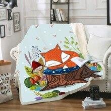 3D Digital Print ThrowBlanket Cartoon Fox Cat Monkey Lion Warm Sherpa Fleece Blanket for Kids Girls Boys Cute AnimalSeries