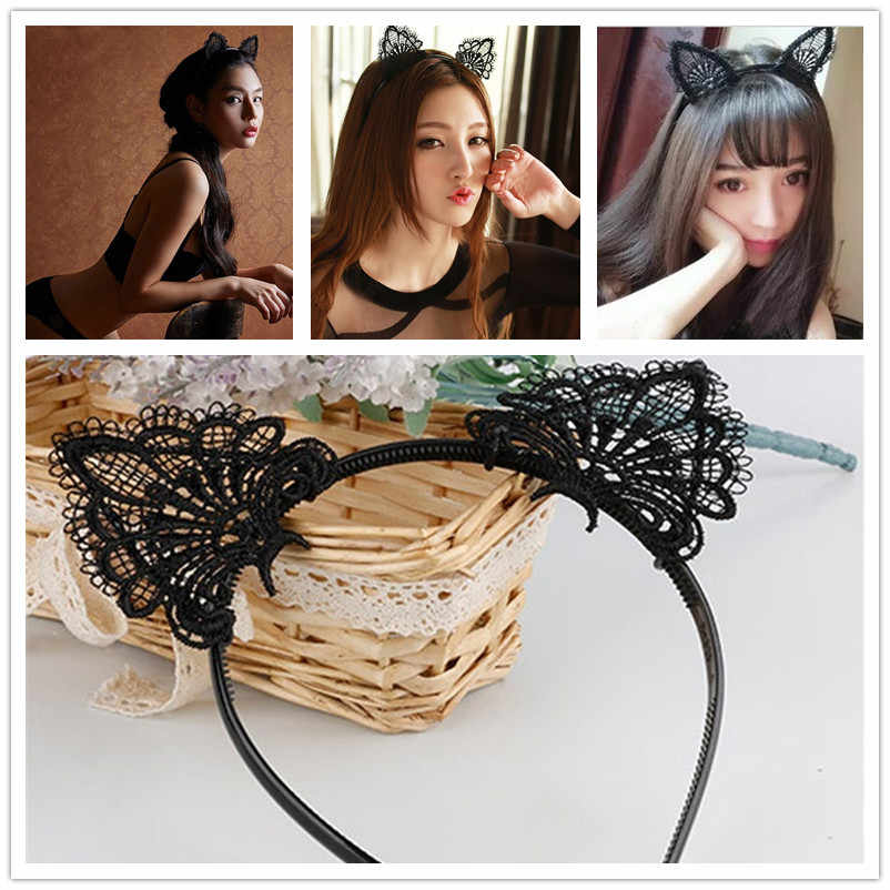 1 Pcs Women Sexy Cute Lace elastic headbands Fashion Cat Ears Headband Wedding Photography Style Hair Hoop hair accessories