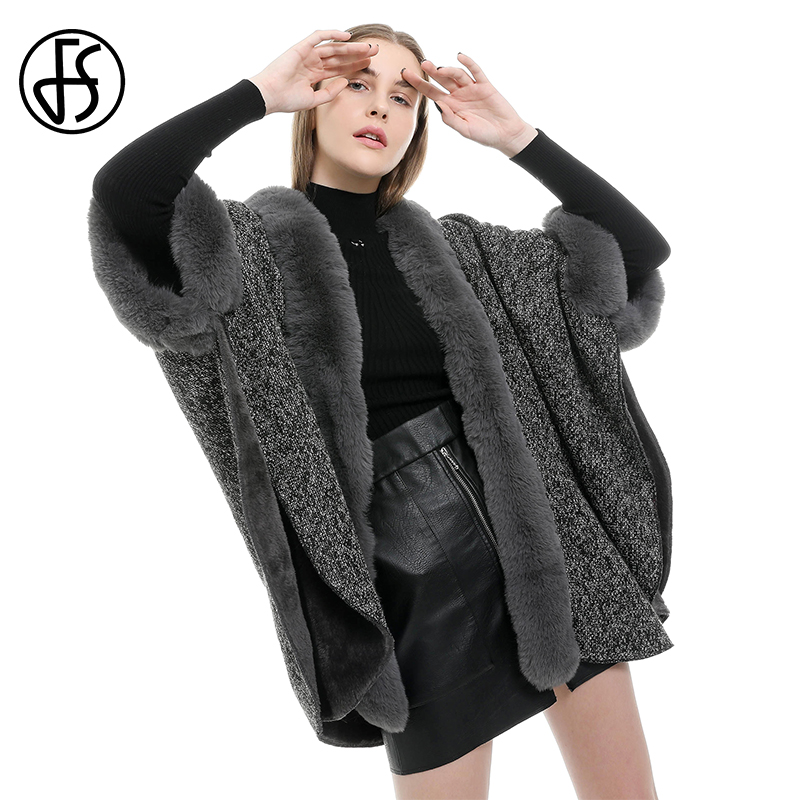 FS Winter Poncho Neck Warmer Fur Collar Scarf Cape Shawl With Sleeves Black Brown Luxury Brand Women Coat Cashmere Fulares Mujer