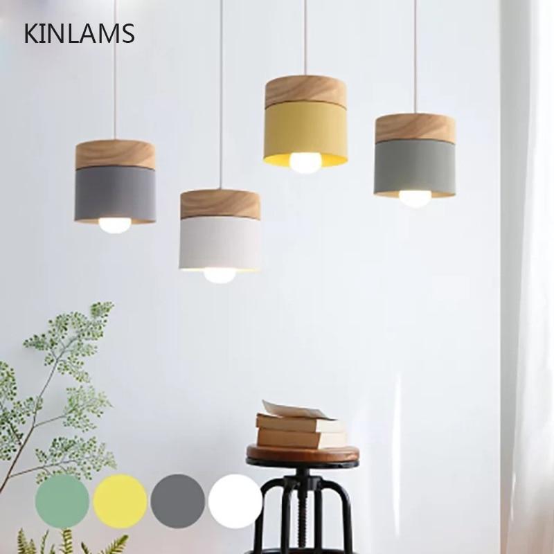 Modern Pendant Lights Nordic Light Wood Iron Colorful Led Hanging LampRestaurant Coffee Bedroom E27 Led Light