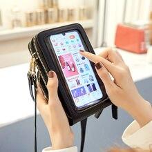 Tela de toque feminina telefone celular bolsa smartphone carteira couro do plutônio ombro mensageiro bolsa 3pc senhora mini crossbody bolsa