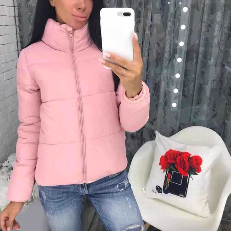Winter Puffer Women Short Parka Coats Solid Stand Collar Ladies Jacket Tops 2020 Thicken Warm Long Sleeve Female Casual Parkas