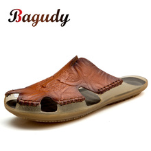 Summer Breathable Mens Sandals Soft Leather Casual Slippers Comfortable Flats Outdoor Man slippers Roman Style Beach Sandals