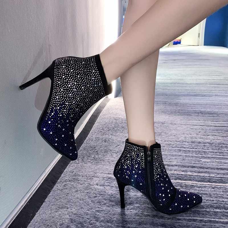 Nieuwe sexy hunter laarzen voor vrouwen flock puntschoen Rhinestone bling schoenen rits dunne hakken enkellaars voor vrouwen Drop schip