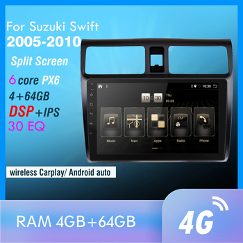 4G+64GB PX6 Car DVD Multimedia Player For 2005 2006 2007 2008 2009 2010 Swift 2din Android 10.0 Radio Auto Navigation GPS image