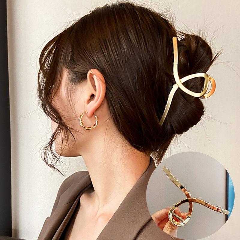 2021 New Women Elegant Gold Silver Hollow Geometric Metal Hair Claw Vintage Hair Clips Headband Hairpin Fashion Hair Accessories
