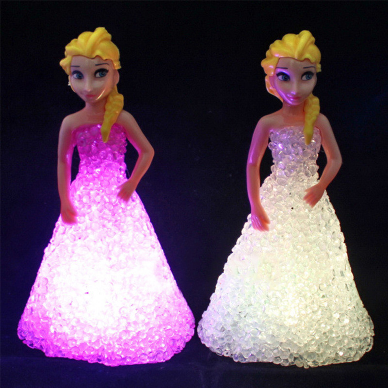 1 PCS Kids Toy Elsa Anna Sofia LED Colorful Lights Gradient Crystal Night Light Led Lamp Battery Princess Christmas Holiday Gift
