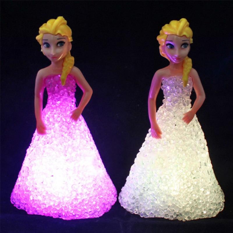1 PCS Kids Toy Elsa Anna Sofia LED Colorful Lights Gradient Crystal Night Light Led Lamp Battery Princess Christmas Holiday Gift